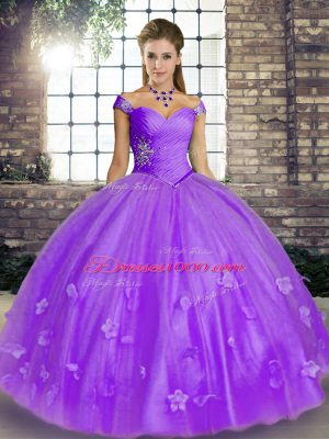 Pretty Lavender Ball Gowns Beading and Appliques Sweet 16 Dresses Lace Up Tulle Sleeveless Floor Length