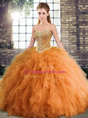 Clearance Sweetheart Sleeveless Quinceanera Dress Floor Length Beading and Ruffles Orange Tulle