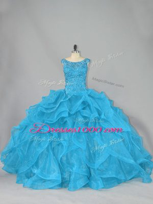 Inexpensive Aqua Blue Lace Up Quince Ball Gowns Beading and Ruffles Sleeveless Brush Train