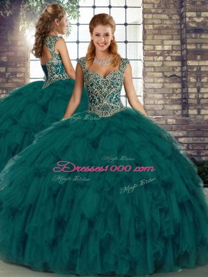 High Class Peacock Green Ball Gowns Straps Sleeveless Organza Floor Length Lace Up Beading and Ruffles Quinceanera Dresses