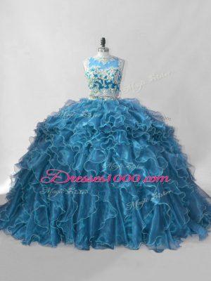 Organza Scoop Sleeveless Brush Train Zipper Beading and Ruffles Quinceanera Dresses in Blue