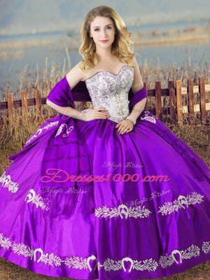 Purple Sleeveless Beading and Embroidery Floor Length Vestidos de Quinceanera