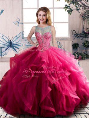 Suitable Fuchsia Sleeveless Beading and Ruffles Floor Length Sweet 16 Dresses