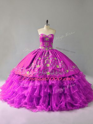 Designer Organza Sweetheart Sleeveless Lace Up Embroidery and Ruffles Quinceanera Gown in Purple
