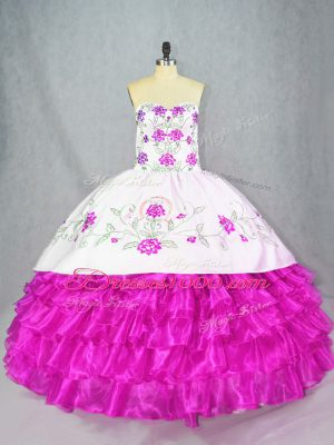 Floor Length Fuchsia Ball Gown Prom Dress Sweetheart Sleeveless Lace Up