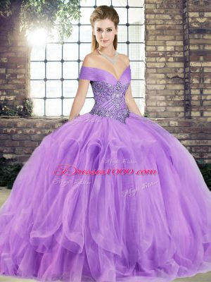 New Style Off The Shoulder Sleeveless Sweet 16 Quinceanera Dress Floor Length Beading and Ruffles Lavender Tulle