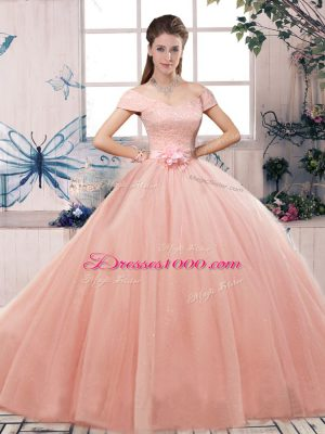 Off The Shoulder Short Sleeves Lace Up Vestidos de Quinceanera Pink Tulle
