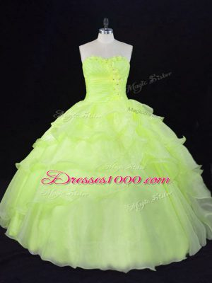 New Arrival Organza Sweetheart Sleeveless Lace Up Ruffles and Hand Made Flower Quinceanera Dresses in Yellow Green
