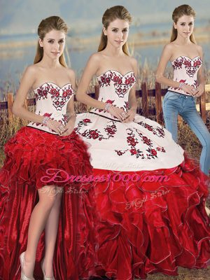 On Sale Sleeveless Floor Length Embroidery and Ruffles and Bowknot Lace Up Quinceanera Gowns with White And Red