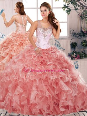 Great Watermelon Red Ball Gowns Beading and Ruffles Ball Gown Prom Dress Clasp Handle Organza Sleeveless Floor Length