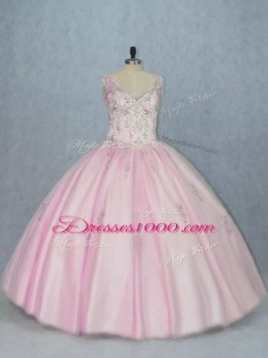 Inexpensive Sleeveless Floor Length Beading and Appliques Backless Ball Gown Prom Dress with Baby Pink