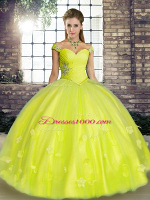 Dynamic Yellow Green Lace Up Off The Shoulder Beading and Appliques 15th Birthday Dress Tulle Sleeveless