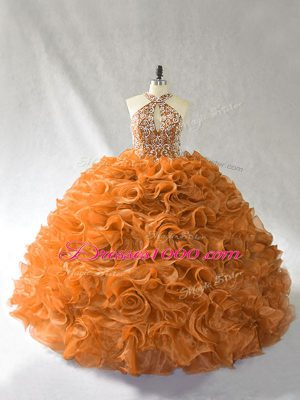Sophisticated Orange and Brown Halter Top Lace Up Beading and Ruffles Sweet 16 Dresses Brush Train Sleeveless