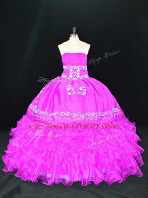 Fuchsia Ball Gowns Organza Strapless Sleeveless Embroidery and Ruffles Floor Length Lace Up 15th Birthday Dress