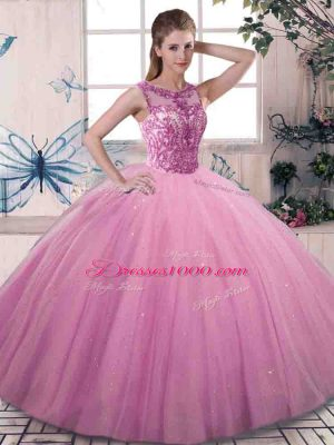 Clearance Rose Pink Scoop Neckline Beading Quinceanera Gowns Sleeveless Lace Up