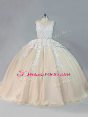 Scoop Sleeveless Court Train Zipper Quinceanera Gown Champagne Tulle