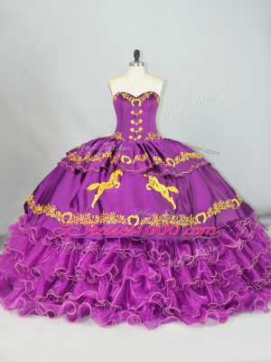 Purple Ball Gowns Satin and Organza Sweetheart Sleeveless Embroidery and Ruffles Lace Up 15th Birthday Dress Brush Train