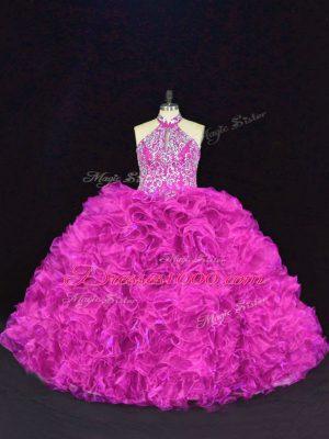 Sleeveless Floor Length Beading and Ruffles Lace Up Sweet 16 Dresses with Fuchsia