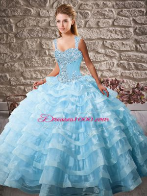 Blue Quince Ball Gowns Organza Court Train Sleeveless Beading and Ruffled Layers