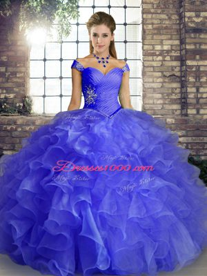 Blue Ball Gowns Off The Shoulder Sleeveless Organza Floor Length Lace Up Beading and Ruffles Quinceanera Dresses