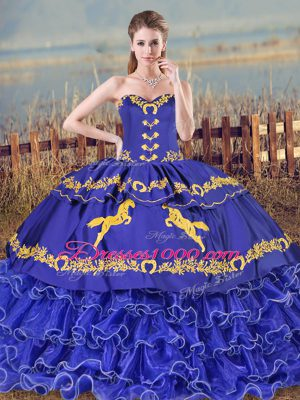 Blue Ball Gowns Organza Sweetheart Sleeveless Embroidery and Ruffled Layers Lace Up Sweet 16 Dresses Brush Train