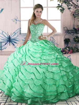 Sweetheart Sleeveless Brush Train Lace Up Ball Gown Prom Dress Apple Green Organza