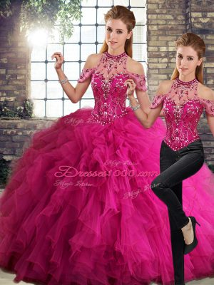 Fuchsia Sleeveless Beading and Ruffles Floor Length Sweet 16 Dresses