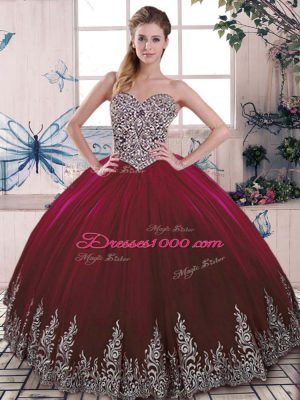 Exceptional Sleeveless Tulle Floor Length Side Zipper Sweet 16 Dress in Burgundy with Beading and Embroidery