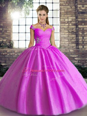 Sleeveless Floor Length Beading Lace Up Quinceanera Dresses with Lilac