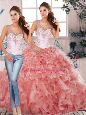 Artistic Watermelon Red Scoop Clasp Handle Beading and Ruffles Quinceanera Dresses Sleeveless