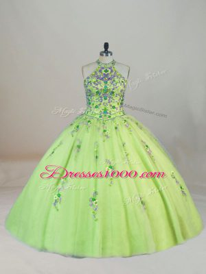 Trendy Yellow Green Sleeveless Tulle Brush Train Lace Up Sweet 16 Quinceanera Dress for Sweet 16 and Quinceanera
