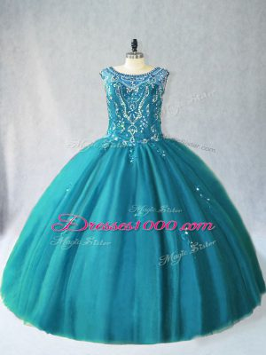Perfect Ball Gowns Sweet 16 Quinceanera Dress Teal Scoop Tulle Sleeveless Floor Length Lace Up