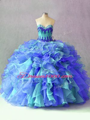 Multi-color Sleeveless Beading and Appliques and Ruffles Floor Length Sweet 16 Dress