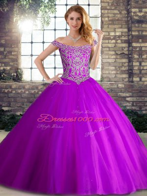 Off The Shoulder Sleeveless Brush Train Lace Up Sweet 16 Dresses Purple Tulle