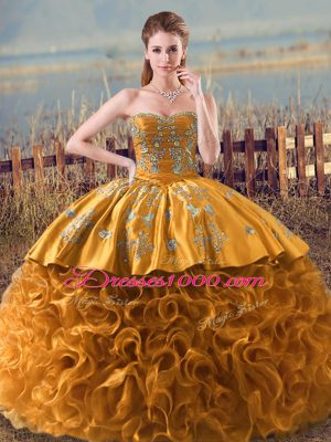 Floor Length Lace Up Quinceanera Dress Brown for Sweet 16 and Quinceanera with Embroidery and Ruffles