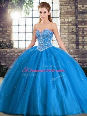 Baby Blue Quinceanera Dresses Sweetheart Sleeveless Brush Train Lace Up