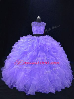 Simple Beading and Ruffles 15 Quinceanera Dress Lavender Zipper Sleeveless Floor Length