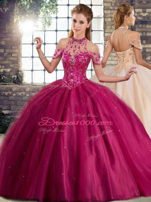 Glittering Fuchsia Ball Gowns Beading Sweet 16 Dress Lace Up Tulle Sleeveless