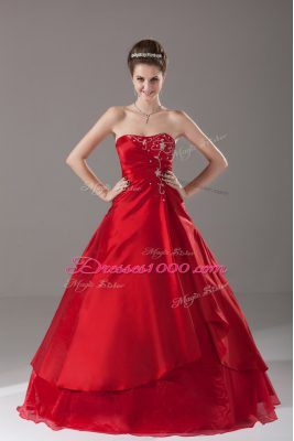 Most Popular Strapless Sleeveless Quinceanera Gown Floor Length Beading Wine Red Organza