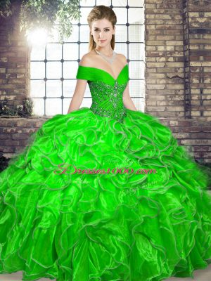 Green Ball Gowns Off The Shoulder Sleeveless Organza Floor Length Lace Up Beading and Ruffles Quinceanera Gowns