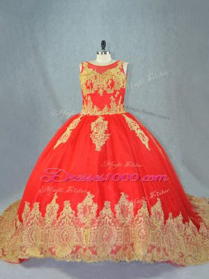 Red Scoop Lace Up Appliques Sweet 16 Dresses Court Train Sleeveless