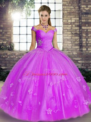 Ball Gowns Vestidos de Quinceanera Lavender Off The Shoulder Tulle Sleeveless Floor Length Lace Up