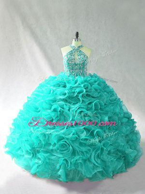 Halter Top Sleeveless Organza Sweet 16 Quinceanera Dress Beading and Ruffles Brush Train Lace Up