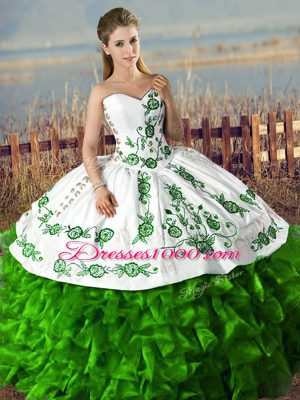 Artistic Green Ball Gowns Embroidery and Ruffles Sweet 16 Dresses Lace Up Organza Sleeveless Floor Length