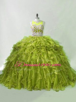 Flirting Olive Green Ball Gown Prom Dress Organza Brush Train Sleeveless Beading and Ruffles