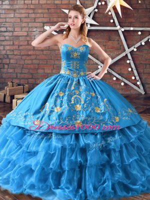 Popular Blue Quinceanera Dresses Sweet 16 and Quinceanera with Embroidery and Ruffled Layers Sweetheart Sleeveless Lace Up