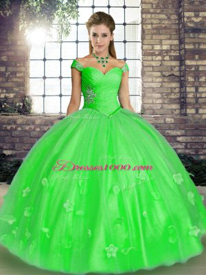 Dramatic Green Ball Gowns Off The Shoulder Sleeveless Tulle Floor Length Lace Up Beading and Appliques Quinceanera Gown