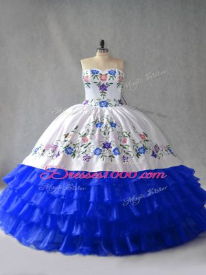 Royal Blue Organza Lace Up Sweetheart Sleeveless 15th Birthday Dress Embroidery and Ruffled Layers