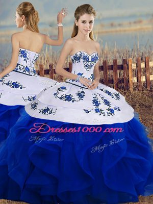Fitting Sweetheart Sleeveless Lace Up Sweet 16 Dress Royal Blue Tulle