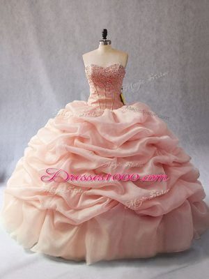Superior Sweetheart Sleeveless Organza Ball Gown Prom Dress Beading and Pick Ups Lace Up